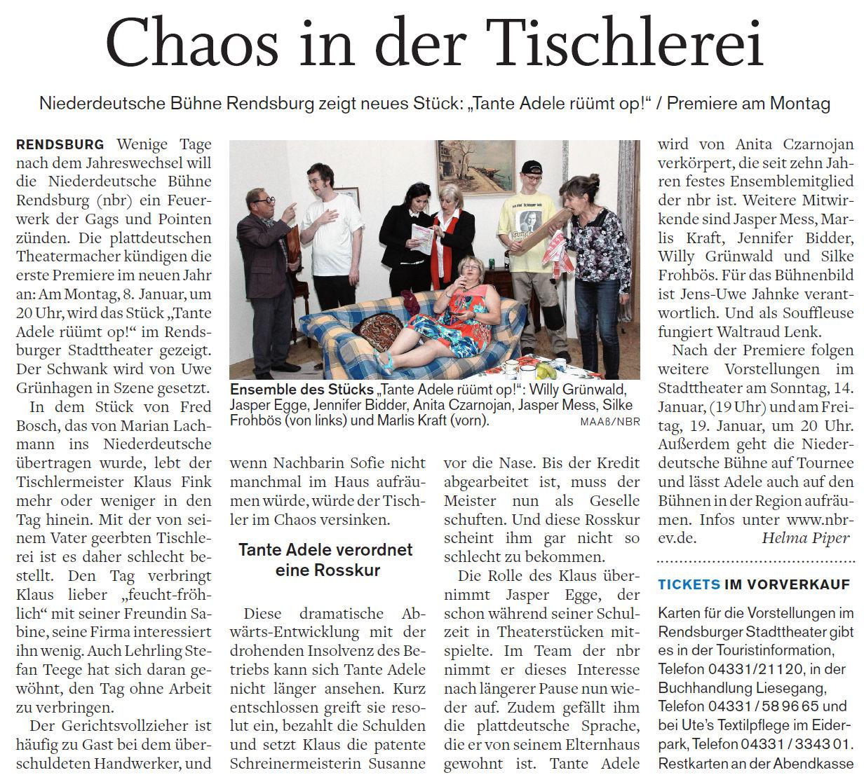 Tischlerei Rendsburg niederdeutsche bühne rendsburg e v mitglied im niederdeutschen